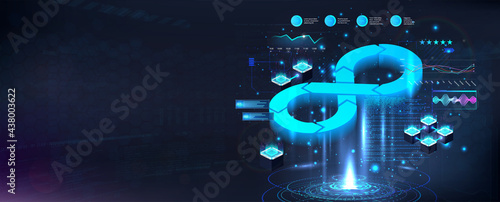 Stampa su Tela Futuristic DevOps process banner