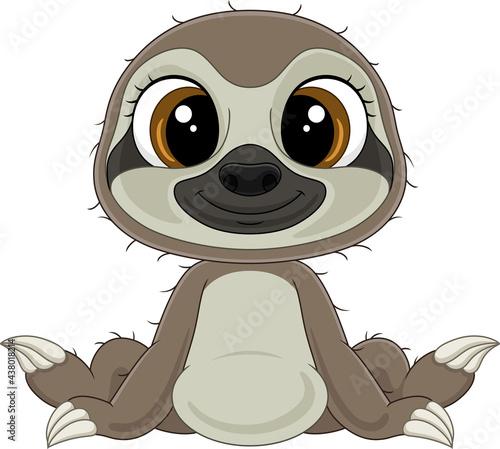 Fototapeta premium Cartoon funny baby sloth sitting
