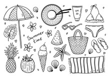 Beach Summer Set - Swimsuit, Hat, Bag, Towel, Sunscreen, Sunglasses, Flip Flops, Beach Umbrella, Fruit And Ice Cream. Vector Hand-drawn Illustration In Doodle Style. Perfect For Cards, Decorations.