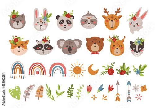Fototapeta premium Cute boho baby animal faces and arrows isolated cliparts set
