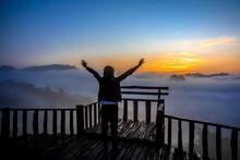 View The Sea Of Mist At Ban Jabo Village, Mae Hong Son, Thailand.