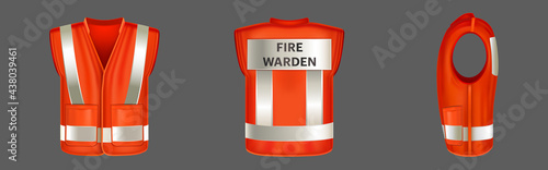 Photo Red safety vest with reflective stripes, uniform for fire warden