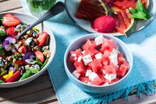 Summer Fruity Brunch Served On Table