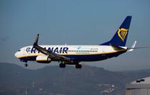 BARCELONA, EL PRAT, SPAIN - JANUARY 26, 2020: Image Of Passenger Airplane Of Company Ryanair During Landing
