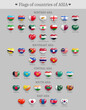 Set of Asia countries flags heart shaped buttons. Asian states national flags glossy badges. Symbols in patriotic colors with names of each country realistic vector illustration
