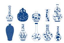 Vase Set. Chinese Porcelain Vase, Ceramic Vase, Antique Blue And White Pottery Vase With Landscape Painting. Oriental Decorative Elements Collection Of Vases For Your Interior Design.
