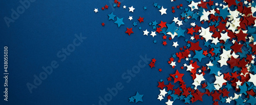 Fotografie, Tablou 4th of July American Independence Day stars decorations on blue background