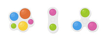Simple Dimple. Isolated Antistress Toys. Fidget Sensory Toy Pop It. Colorful Silicone Bubbles. Trendy Keychain Simple Dimple Of Various Shapes To Relieve Stress. Vector Illustration On White.