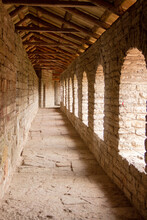 Ancient Corridor Of The Stone Battle Fortress In Perspective, Oreshek Fortress, Shlisselburg, Leningrad Region, May 2021