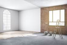 Side View Of Unfinished Bright Room Interior Repairs In Apartment With Window, Brick Walls, Wooden Floor And Mockup Space. 3D Rendering.