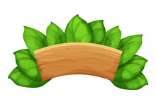 Wooden Plank, Billboard With Leaves, Exotic, Jungle Decoration In Cartoon Style Isolated On White Background. Empty Board, Textured An Detailed. Vector Illustration