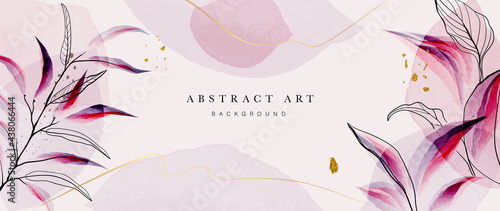 Abstract art gold tropical leaves background vector. Luxury wallpaper with watercolor, tropical leaf framed, palm leaf, flower,Vivid foliage, exotic green and gold brush glitter