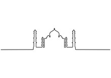 Continuous Line Of Taj Mahal In Indi. One Single Line Of Taj Mahal In India Isolated On White Background.