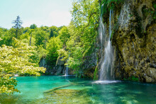 Sunny Summer Day. A Transparent Shallow Lake Reflects The Forest. Plitvice Lakes Park In Croatia, Central Europe. Many Picturesque Waterfalls Flow Along The Clay Cliffs.