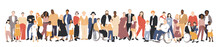 Multicultural Group Of Mothers And Fathers With Kids. Flat Vector Illustration.