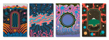 Abstract Background Set, Psychedelic Art Vector Illustrations, Psychedelic Colors And Abstract Patterns