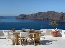 Santorini, Oia, View From Hotel Balcony On The Vulcano