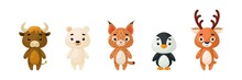 Cute Animals Set. Collection Funny Animals Characters For Kids Cards, Baby Shower, Birthday Invitation, House Interior. Bright Colored Childish Vector Illustration.