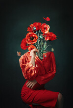 Strange Fine Art Concept. Strange Fine Art Concept. Photo Manipulation. Surreal, Art Wallpaper Photo.The Body Of A Woman, Her Head Is A Poppies.