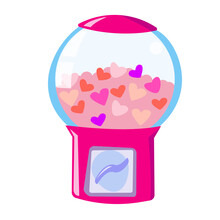 Chewing Gum Machine With Heart. Vending Machine For Selling Piece Goods. Valentine's Day Stock Vector Illustration On A White Background.