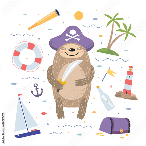 Fototapeta premium Cute cartoon sloth pirate on white isolated background. Fabulous funny animal against a background of waves and items of a sailor. For the design of children`s rooms, postcards, books, parties.