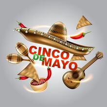 Cinco De Mayo Mexican Holiday Sombrero Hat Maracas Tacos Festive Food Vector Illustration