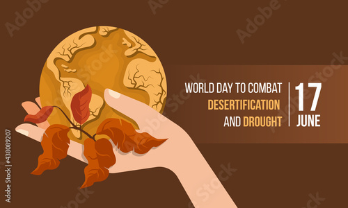 Tela World Day to Combat Desertification and Drought banner with hand hold circle dro