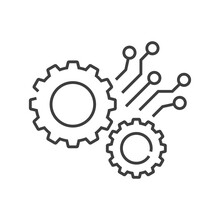 Tecnología Electrónica. Logotipo Con 2 Engranajes Con Circuito Digital Con Lineas De Color Gris
