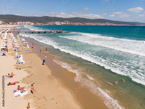 Valokuva Aerial photo of Sunny Beach area of Bulgaria, sand beach, sunbeds and sun umbrellas