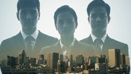 都市と外国人ビジネスグループ ダブルエクスポージャー
