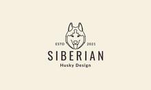 Lines Hipster Cute Head Dog Siberian Husky Logo Vector Icon Illustration Design