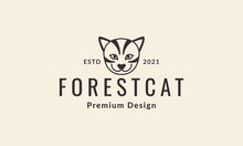 Hipster Head Cat Forest Logo Symbol Vector Icon Illustration Graphic Design