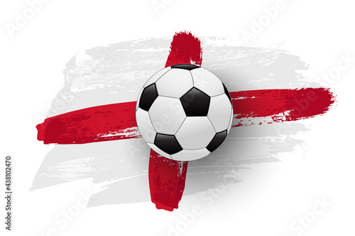 Photographie Realistic soccer ball on flag of England made of brush strokes
