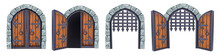 Castle Gate Vector Medieval Collection, Open Wooden Ancient Door, Iron Grate, Stone Arch Isolated On White. Vintage City Entrance, Closed Dungeon Double Entry. Game Elements, Castle Gate Illustration
