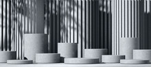 Minimal Abstract Bw Background With 3D Concrete Podium Display With Shadows