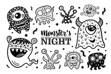 Set 6 With Black And White Hand Drawn Monsters Night Halloween Illustrations. Vector Doodle Elements And Lettering