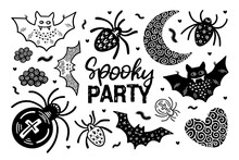 Set 5 With Black And White Hand Drawn Spooky Party Halloween Illustrations. Vector Doodle Elements And Lettering