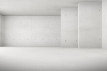 Abstract 3d Rendering Of Empty Concrete Room With Light And Shadow On The Wall.