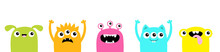 Happy Halloween. Monster Set Icon Line. Cute Kawaii Cartoon Baby Character. Funny Face Head Colorful Silhouette. Hands Up. Eyes Teeth Fang Horn Tongue. Flat Design. White Background.