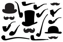 Man's Clip Art Set. Grunge Elements, Silhouettes On White Background
