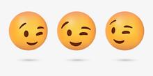 3d Winking Emoji Face , Slight Smile Winky Emoticon Closed One Eye
