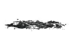 Black Coal Chunks Pile Isolated On White Background, Side View