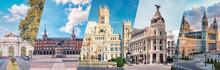Madrid City, Famous Landmark Collage