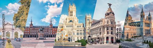 Fotografia Madrid City, famous landmark collage