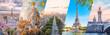 Leinwandbild Motiv Paris City famous landmarks collage