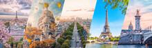 Paris City Famous Landmarks Collage
