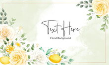 Beautiful Watercolor Floral And Leaves With Botanical Lemon Fruit Banner Background