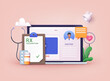 Therapist on chat in messenger and an online consultation. Online medical advise or consultation service. 3D Web Vector Illustrations.