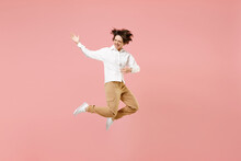 Full Length Fun Young Singer Musician Employee Business Woman Corporate Lawyer In Classic Formal White Shirt Work In Office Jump High Play Guitar Rock Melody Music Isolated On Pastel Pink Background