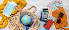Travel. Online Travel Plans With Covid Passport And Covid Test. Traveling After Quarantine, Lockdown, Covid 19. Staycation.local Travel New Normal.Tourism After Border Opening, Quarantine End